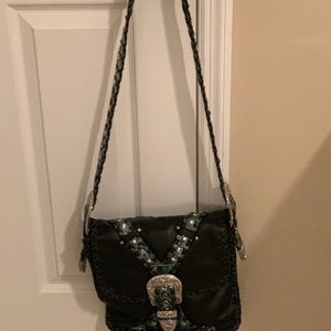 Charm and Luck rhinestone w/silver black bag